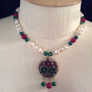 """16"""" Ruby, emerald, pearl, white topaz, necklace"""